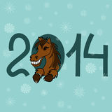 New Year and Christmas card with 2014 stylized numbers Royalty Free Stock Photo