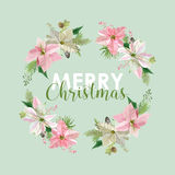 New Year and Christmas Card - Vintage Flowers Poinsettia Stock Photography