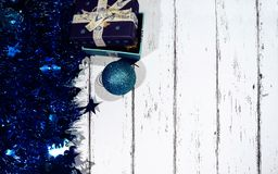 New year and Christmas card. The wood background lies holiday accessories stock photos