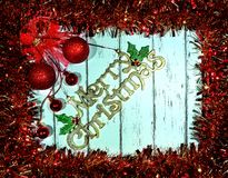New year and Christmas card. The wood background lies holiday accessories royalty free stock images