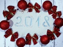 New year and Christmas card. The wood background lies holiday accessories stock photography