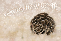 New Year and Christmas cedar cone. Abstrakt background for the new year and Christmas Stock Photo