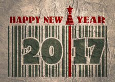 New Year and Christmas celebration card. Happy New Year text Royalty Free Stock Photo