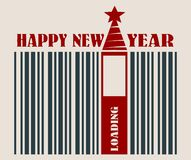 New Year and Christmas celebration card. Happy New Year text. New Year and Christmas celebration card template. Happy New Year text. Bar code with 2017 number Stock Photo
