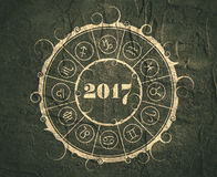 New Year and Christmas celebration card. Zodiac circle Royalty Free Stock Images
