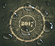 New Year and Christmas celebration card. Zodiac circle. New Year and Christmas celebration card template. Zodiac circle with 2017 new year number. Concrete royalty free illustration