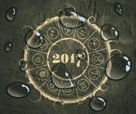 New Year and Christmas celebration card. Zodiac circle Royalty Free Stock Photography