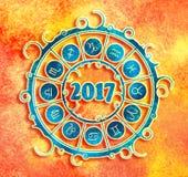 New Year and Christmas celebration card. Zodiac circle Stock Photography