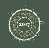 New Year and Christmas celebration card. Zodiac circle Stock Image