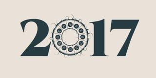 New Year and Christmas celebration card. Zodiac circle Stock Photos