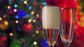 New Year and Christmas Celebration. Champagne stock footage