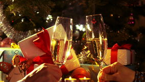 New Year and Christmas Celebration - Couple cheering champagne - 4 k stock video