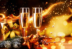 New Year and Christmas Celebration. Two Champagne Glasses Stock Images