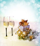 New Year and Christmas Celebration .Two Champagne Glasses in Hol Stock Photo