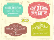 New Year and Christmas celebration vintage label or sticker. Happy New Year 2015 and Merry Christmas celebration vintage sticker, tag or label decorated with Stock Images