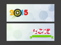 New Year 2015 and Christmas celebration web header or banner set. Happy New Year 2015 and Merry Christmas celebration website header or banner set with beautiful Royalty Free Stock Photos