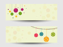 New Year 2015 and Christmas celebration with Xmas Balls. Website header or banner set for Merry Christmas and Happy New Year 2015 celebration Royalty Free Stock Photography