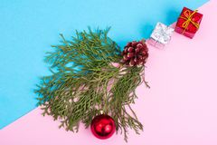 New Year and Christmas collage on pastel background Stock Photography