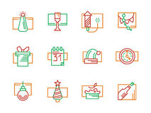 New Year and Christmas color line icons. New Year and Christmas festive decorations for party. Winter celebrations. Set of red, green and orange simple line Royalty Free Stock Images