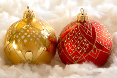 New Year and Christmas composition: fir tree balls in wadding Royalty Free Stock Photography