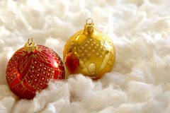 New Year and Christmas composition: fir tree balls in wadding Stock Photo