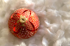 New Year and Christmas composition: fir tree balls in wadding Stock Photography
