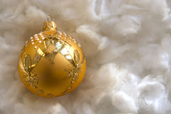 New Year and Christmas composition: fir tree balls in wadding Royalty Free Stock Photo