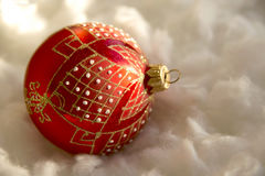 New Year and Christmas composition: fir tree balls in wadding Stock Image