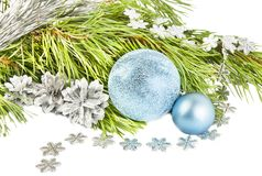 New year and Christmas composition with fir tree, cones and silv Stock Images
