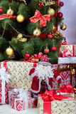 New year. Christmas composition. Gifts Santa Claus under the Christmas tree Stock Photo