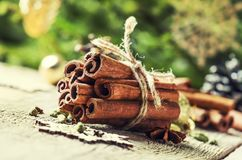 New Year or Christmas composition with spices for making hot win. Ter drink, cinnamon, cardamom, cloves and anise, vintage wooden background, selective focus stock photo