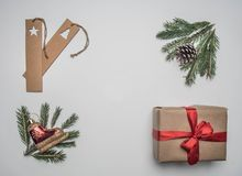 New Year or Christmas concept of gift wrapping, paper, envelopes, Christmas tree branches, on a white background, place for text. New Year or Christmas concept royalty free stock photography
