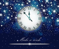 New Year and Christmas concept with vintage clock blue style Stock Photography