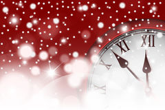 New Year and Christmas concept with vintage clock in red style Royalty Free Stock Images