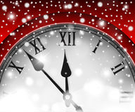 New Year and Christmas concept with vintage clock red style Royalty Free Stock Photo