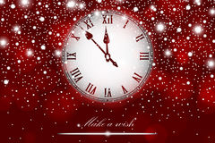 New Year and Christmas concept with vintage clock red style Stock Image