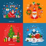 New Year and Christmas Concepts Set. Flat Winter Fun Holiday Design. Royalty Free Stock Photo