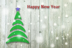 New Year and Christmas conceptual tree on an old background. New Year and Christmas conceptual tree on an old wooden background stock illustration