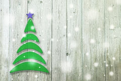 New Year and Christmas conceptual tree on an old wooden. Background royalty free illustration