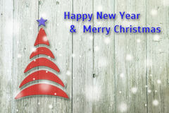 New Year and Christmas conceptual tree on an wooden. Background royalty free illustration