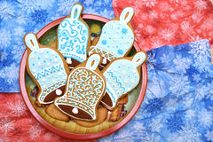 New year and christmas cookies. Blue bells cookies in dish. Flat Royalty Free Stock Images
