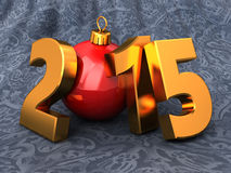 2015 new year and Christmas. 3d illustration of 2015 new year and Christmas over cloth background Stock Image