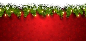 2019 New Year/Christmas 3d seamless template. Used for a banner, poster red background full of falling snowflakes, green branches bright Christmas lights on stock illustration