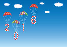 2016 New Year and Christmas decoration. With candy canes in form of digits, descending by parachutes. With copy space. Great for greeting cards stock illustration