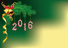 2016 New Year and Christmas decoration. With candy canes in form of digits, hanging from the pine branch. With copy space. Great for greeting cards vector illustration