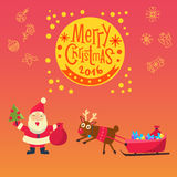 New Year 2016, christmas decoration. Christmas. Congratulation postcard Vector Illustration
