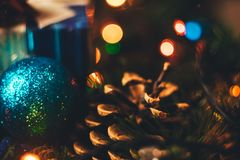 New year Christmas decoration close-up. Christmas ball, cone, Ch stock photos