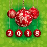 2018 new year and christmas decoration. The dog is a symbol of the 2018 Chinese New Year. Christmas decorations. Vector illustration royalty free illustration