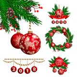 2018 new year and christmas decoration stock illustration