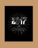 2017 - New Year and Christmas decoration element. Made in vector. Perfect design element for a New Year card. Drawn in sketch Stock Photo